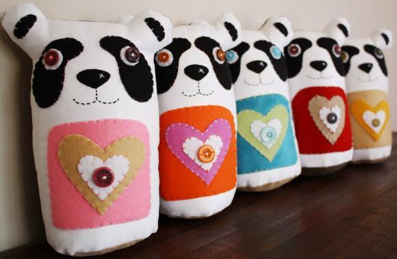 BOObeloobie PANDAmonium Panda Bear in Orange, Pink, white, black and tan denim detail