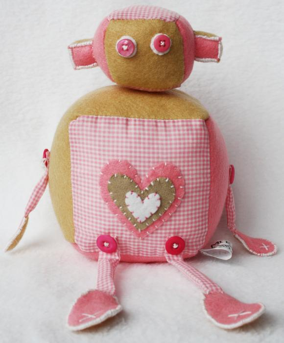 BOObeloobie Reu the Robot in Pink, Cream and pink and white check fabric with button eyes