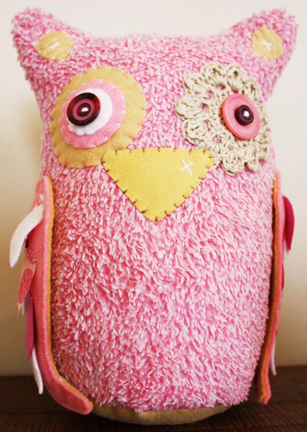 BOObeloobie Large Orli the Owl in Pink, Cream and white accents with crochet eye detail